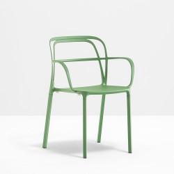 Lots de 2 Chaises aluminium avec accoudoirs Intrigo 3715, Pedrali, vert sauge