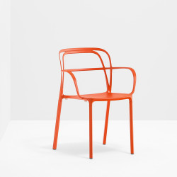 Lots de 2 Chaises aluminium avec accoudoirs Intrigo 3715, Pedrali, orange