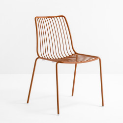 Lot de 2 chaises design filaires Nolita 3650, Pedrali, terracotta