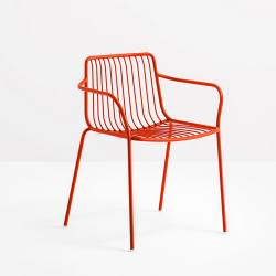 Lot de 2 chaises filaires avec accoudoirs, Nolita 3655, Pedrali, rouge