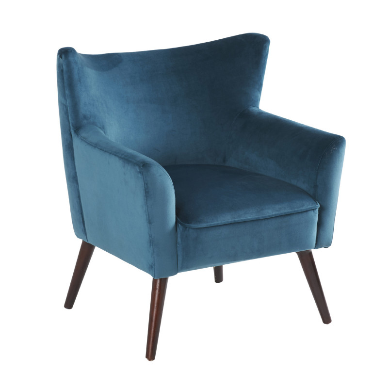 fauteuil velours vintage wayne hanjel bleu canard cerise sur la deco. Black Bedroom Furniture Sets. Home Design Ideas