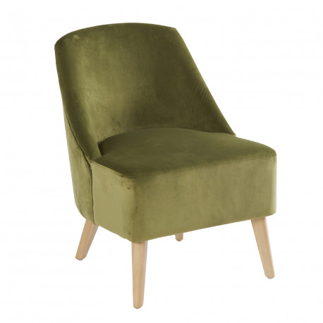 Fauteuil Crawford Velours vert mousse