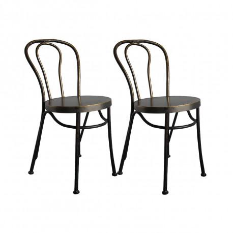 lot de 2 chaises bistrot paris m tal hanjel cerise sur la deco. Black Bedroom Furniture Sets. Home Design Ideas