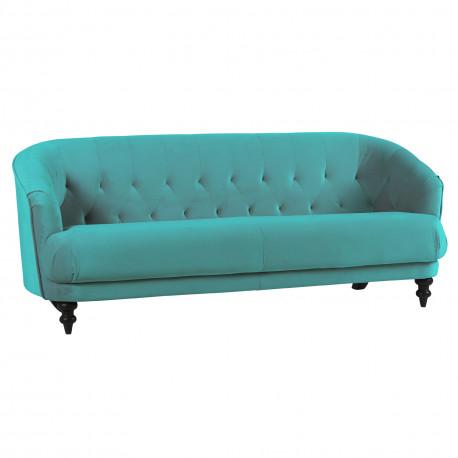 Canapé capitonné 3 places Carros, par Hanjel, turquoise