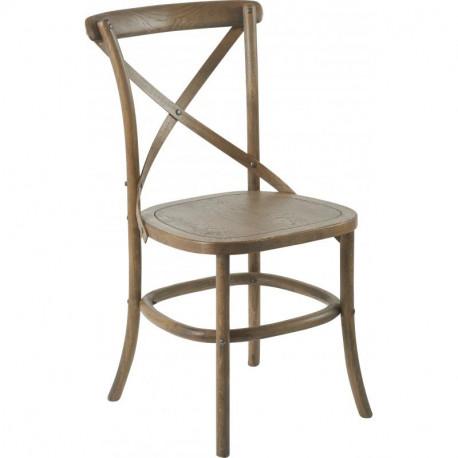 Lot de 2 chaises Paris assise bois, Hanjel bois grisé