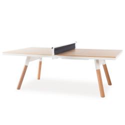Table de réunion ping pong You & Me 220, RS Barcelona, plateau chêne, structure blanche