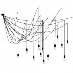 Lustre tentacules Maman Dimmable, 14 ampoules LED transparentes, Seletti noir