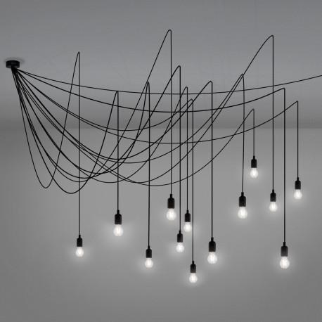 Lustre tentacules Maman Dimmable, 14 ampoules LED satinées, Seletti noir