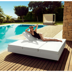Banquette Vela Daybed avec 2 dossiers inclinables, Vondom Blanc Silvertex, 200x180x40cm