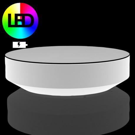 Table basse ronde Vela LED RGB à Batterie, Vondom, diamètre 120xH30 cm