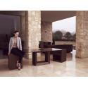 Table Vela, Vondom, pied blanc, plateau HPL blanc avec tranche noire 200x100xH72 cm