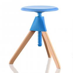 Tabouret Jerry, Magis bois naturel - assise, joint et vis bleu clair, petit modèle