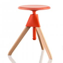 Tabouret Jerry, Magis bois naturel - assise, joint et vis orange Petit modèle