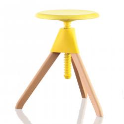 Tabouret Jerry, Magis bois naturel - assise, joint et vis jaune Petit modèle