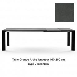 Table Grande Arche avec 2 rallonges, Fast gris métal Longueur 220/320 cm