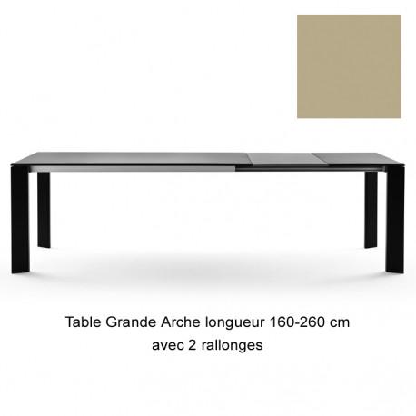 Table Grande Arche avec 2 rallonges, Fast or perlé Longueur 160/260 cm