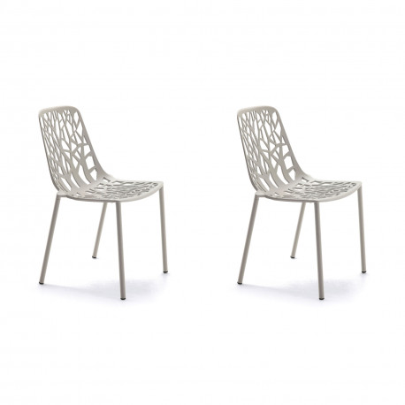 Lot de 2 chaises design Forest, Fast argent