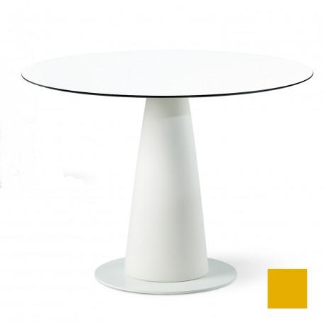 Table ronde Hoplà, Slide design jaune D100xH72 cm