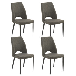 Lot de 4 chaises Minsk, Hanjel anthracite