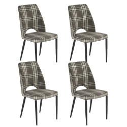 Lot de 4 chaises Minsk, Hanjel rayures écossaises