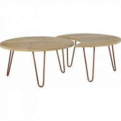 Set de 2 tables basses rondes Nest, Hanjel manguier