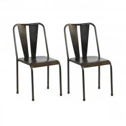 Set de 2 chaises métal Tuileries, Hanjel métal noir