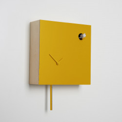 Horloge coucou Icona carrée, Diamantini & Domeniconi jaune