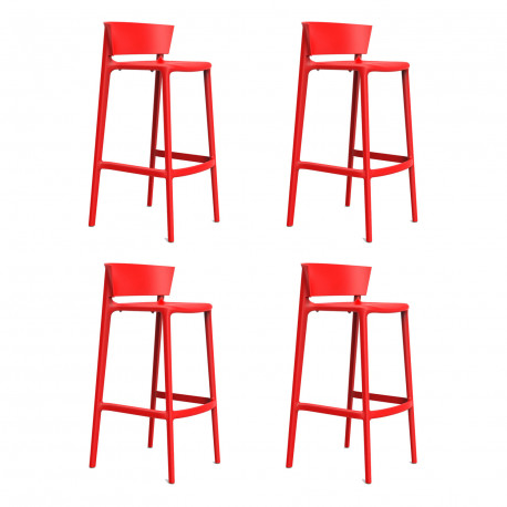 Set de 4 tabourets de bar Africa hauteur d'assise 76 cm, Vondom rouge