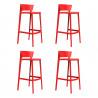 Set de 4 tabourets de bar Africa hauteur d\'assise 74,5 cm, Vondom rouge
