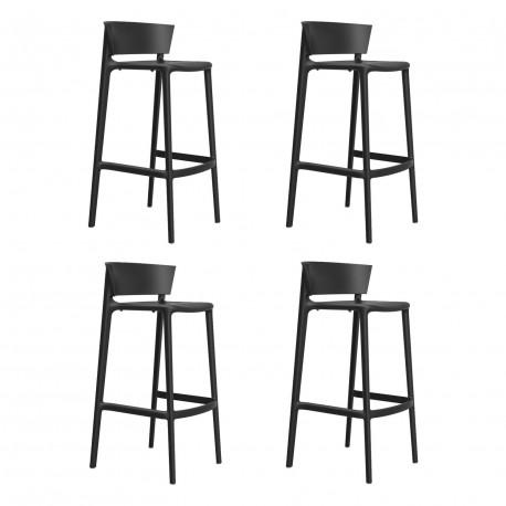 Set de 4 tabourets de bar Africa hauteur d'assise 76 cm, Vondom noir