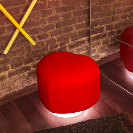 Pouf coeur lumineux Lempi, Slide Design rouge