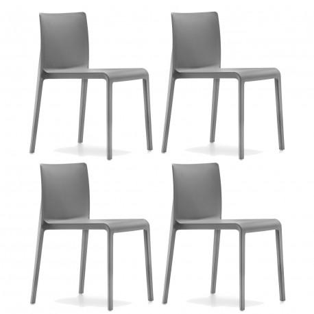 Lot de 4 chaises Volt 670, Pedrali, gris anthracite