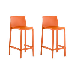 Lot de 2 Tabourets de bar Volt 677, Pedrali orange, hauteur d\'assise 66 cm