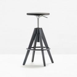 Tabouret de bar Arki stool ARKW6 , Pedrali, hauteur réglable 65 à 75 cm, anthracite et noir
