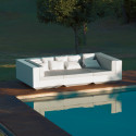 Canapé lounge Vela, Vondom blanc, tissu Silvertex gris argent