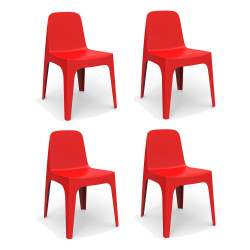 Lot de 4 Chaises Solid, Vondom rouge