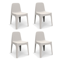Lot de 4 Chaises Solid, Vondom écru