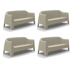 Lot de 4 Canapé Solid sofa, Vondom Bécru