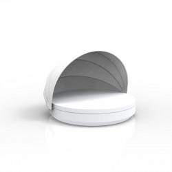 Lit de soleil nid Vela Daybed design, avec parasol, coussin Silvertex blanc, Vondom