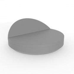 Bain de soleil rond design, Vela Daybed, dossier inclinable, coussin Silvertex gris argent, Vondom