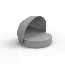 Lit de piscine design Ulm Daybed avec parasol, Vondom, coussin Silvertex gris argent, 180x40cm