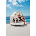 Lit de piscine design Ulm Daybed avec parasol, Vondom, coussin Silvertex gris anthracite, 180x40cm