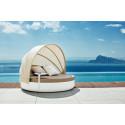 Lit de piscine design Ulm Daybed avec parasol, Vondom, coussin Silvertex taupe, 180x40cm