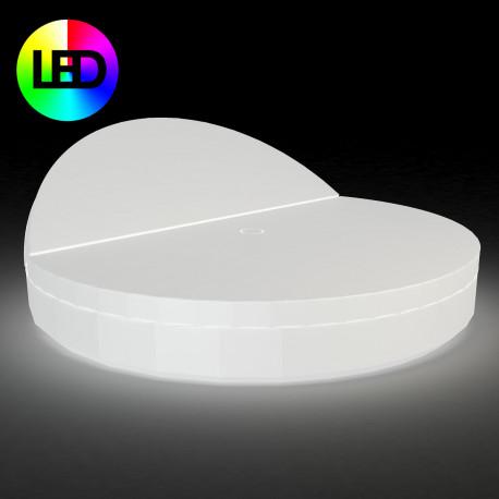 Bain de soleil rond design, Vela Daybed, dossier inclinable, Vondom Lumineux LED RGBW multicolore