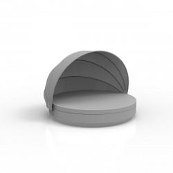 Lit de soleil nid Vela Daybed design, avec parasol, coussin Silvertex gris argent, Vondom