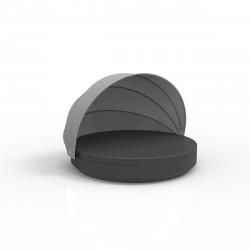 Lit de soleil nid Vela Daybed design, avec parasol, coussin Silvertex gris anthracite, Vondom
