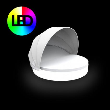 Lit de piscine design Ulm Daybed avec parasol, Vondom Lumineux LED RGBW multicolore, 180x40cm