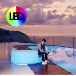 Ulm Daybed de Jardin, Vondom Lumineux LED RGBW multicolore, 180x64cm