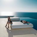 Lit de soleil design Vela Daybed, Vondom, coussin Silvertex blanc, 200x180xH40cm