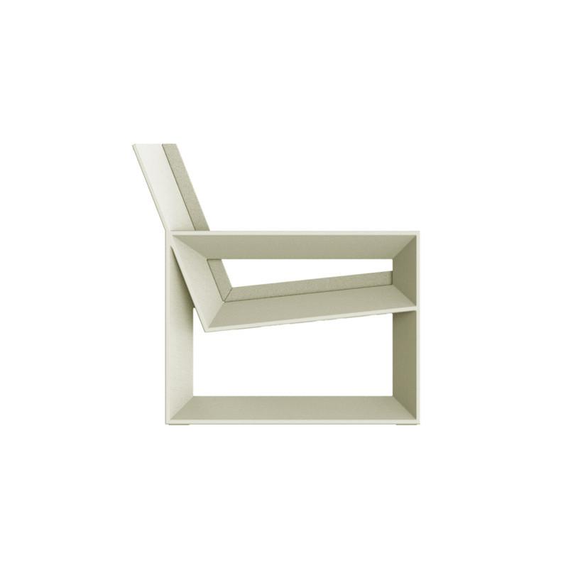 Module gauche pour salon de jardin design Frame écru, Vondom, avec coussins  en tissu Silvertex